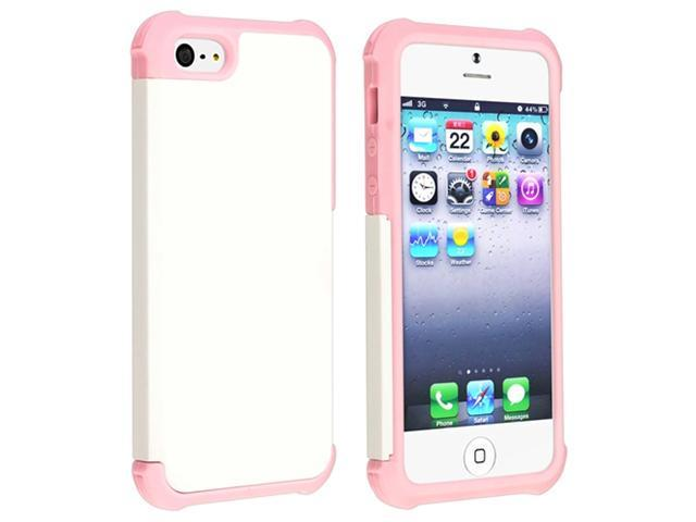 Insten Light Pink Hybrid White Silicone / Hard plastic Case Cover + 3D Diamond Blink LCD Cover compatible with Apple  iPhone  5