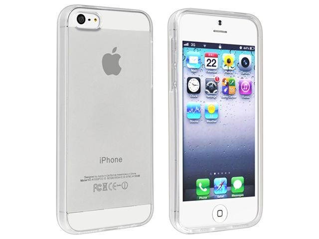 Insten Clear TPU Rubber Case Cover + Screen Protector Compatible With Apple iPhone 5 / 5s 898218