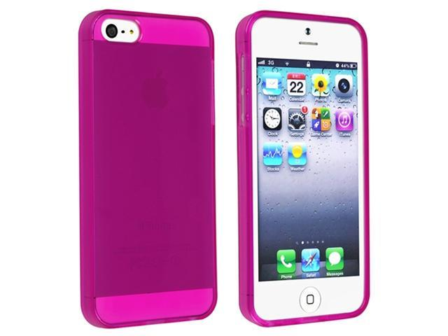 Insten Clear Hot Pink TPU Rubber Case Cover + Mirror Screen Protector Compatible With Apple iPhone 5 / 5s 898229