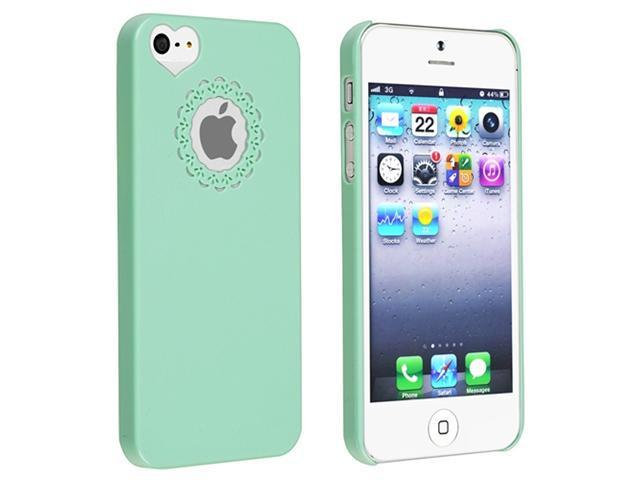 Insten Mint Green Sweet Heart Snap-on Case Cover + White Docking Port Cap compatible with Apple  iPhone  5