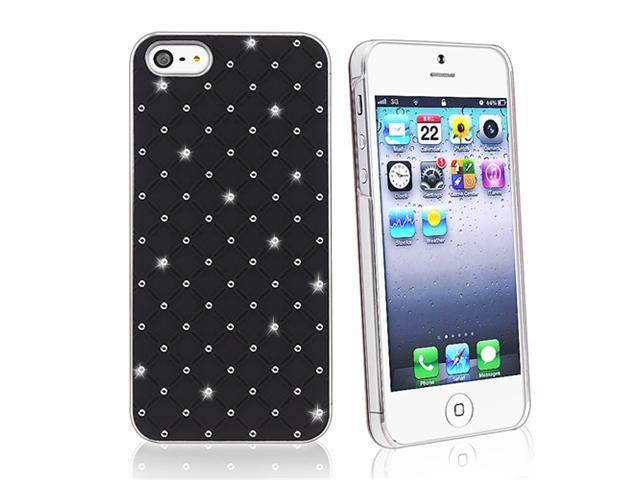 Insten Black Lattice Diamonds Hard plastic Case Cover + Car Charger Adapter Compatible with Apple iPhone 5