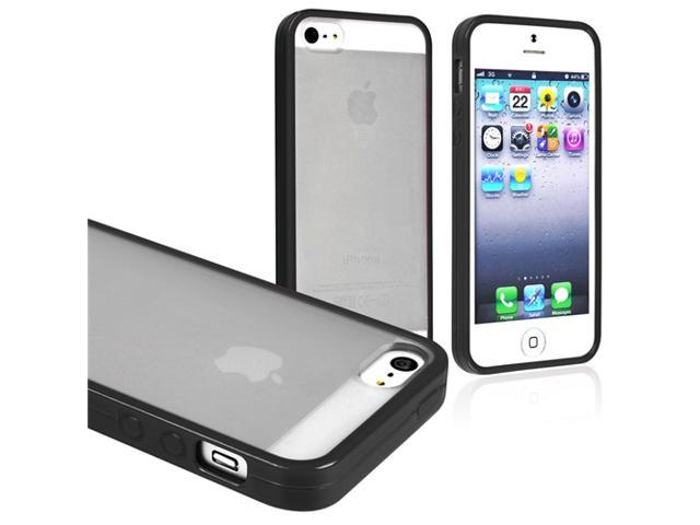 Insten Frost Clear/ Black Bumper Snap-on Hard plastic Case Cover + 2 LCD Kit (Front & Back) Anti-Glare Screen Cover Compatible with Apple iPhone 5