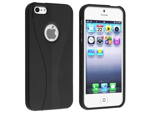 Insten Black / Black Cup Shape Snap-on Case Cover + In-ear (w/on-off) Stereo Headsets Compatible with Apple iPhone 5