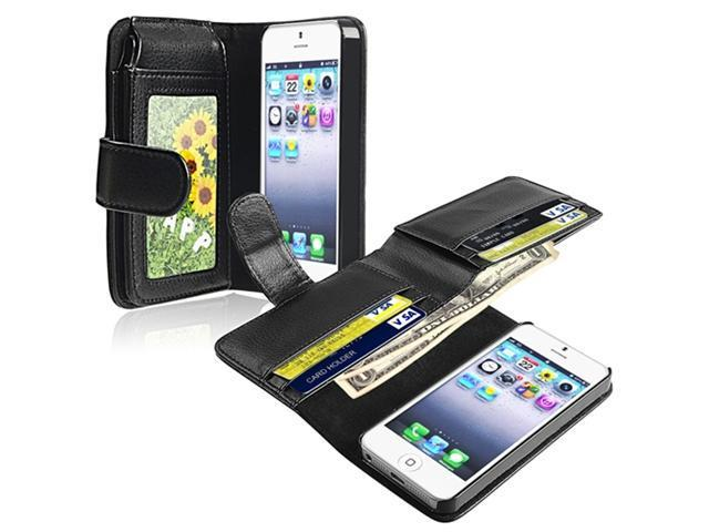 Insten Leather Case Cover with Wallet Compatible with Apple iPhone 5 / 5S, Black