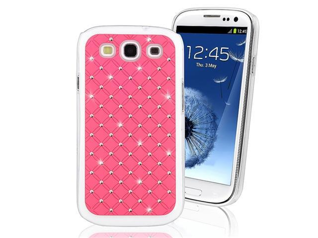 Insten Hot Pink Lattice Studded Diamond Back Protector Case Cover Phone Cover for Samsung Galaxy S III / S3