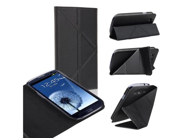 Insten Leather Case Cover with Foldable Stand compatible with Samsung Galaxy SIII / S3, Black