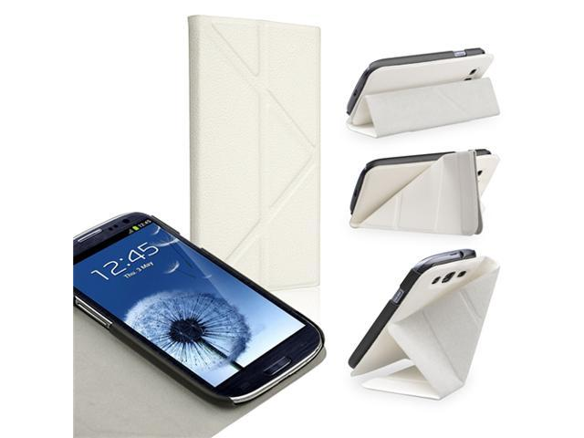 Insten Leather Case Cover with Foldable Stand compatible with Samsung Galaxy SIII / S3, White