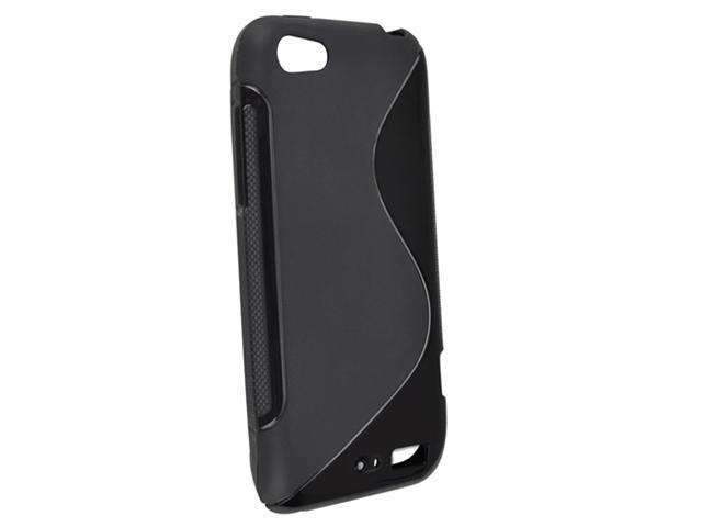 Insten TPU Rubber Skin Case Cover Compatible With HTC One V, Black S Shape