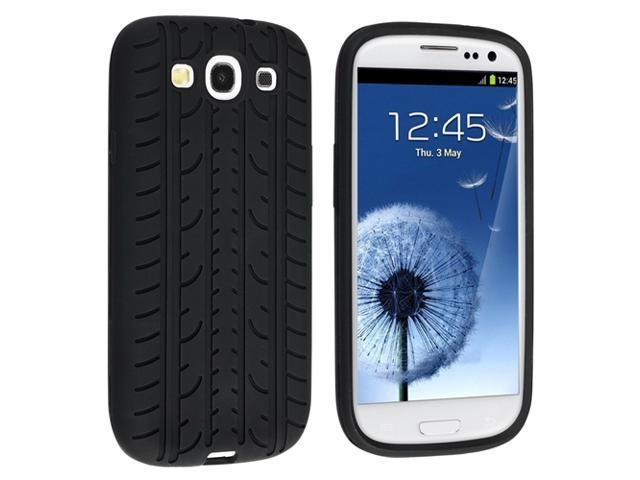 Insten Black Tire Silicone Skin Case Cover Cover with Reusable Anti-Glare Screen Protector Compatible with Samsung Galaxy SIII / S3