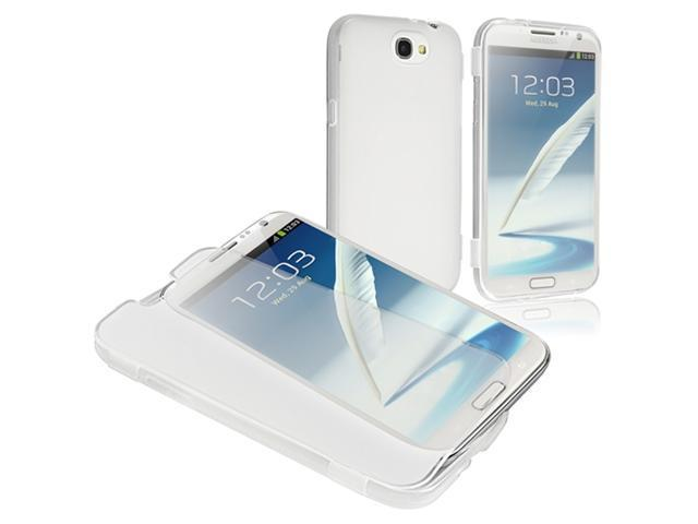 Insten TPU Rubber Skin Case Cover with Flap Compatible with Samsung Galaxy Note II N7100, Clear white