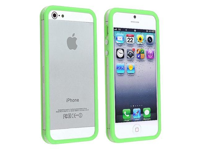 Insten Bumper TPU Case Cover with Aluminum Button Compatible with Apple iPhone 5 / 5S, Clear/ Green