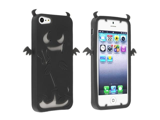 Insten Black Devil Silicone Soft Case Cover + Privacy LCD Screen Shield Compatible with Apple iPhone 5