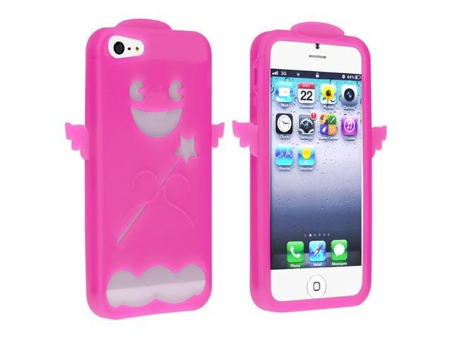 Insten Hot Pink Angel Silicone Soft Case Cover + Privacy LCD Screen Shield Compatible with Apple iPhone 5