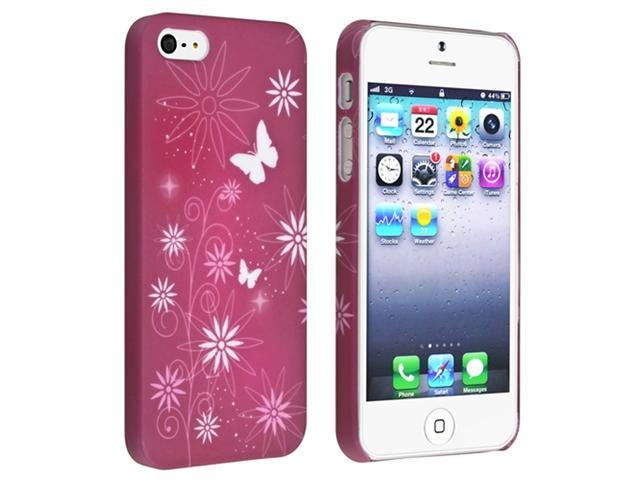 Insten Warm Red/ Flower Style Hard Rubber Case Cover + Anti-Glare LCD Screen Protector Compatible With Apple iPhone 5 / 5s 836709