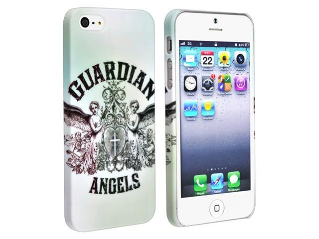 Insten White with Angels Snap-on Rubber Coated Case Cover + Privacy LCD Screen Shield Compatible with Apple iPhone 5
