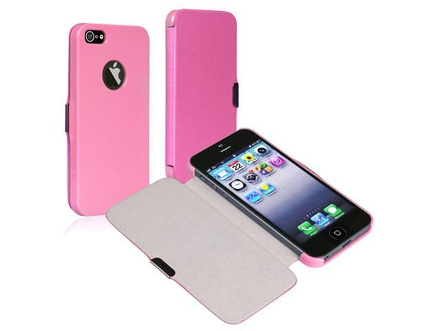 Insten Snap-on Leather Case Cover with Magnetic Flap compatible with Apple iPhone 5, Light Pink