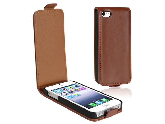 Insten Brown Version 2 Snap-on Leather Case Cover + 2 LCD Kit Mirror Film Guard compatible with Apple iPhone 5