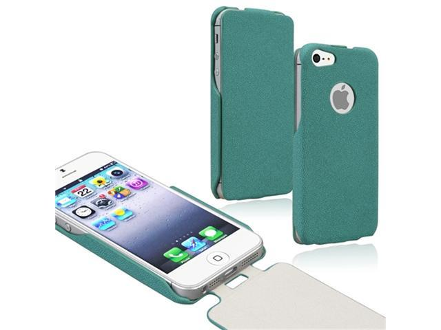 Insten Green Leather Case Cover + 2 LCD Kit Reusable Screen Protector compatible with Apple iPhone 5
