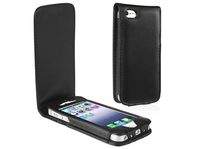 Insten Black Leather Case Cover + 2 LCD Kit Mirror Film Guard compatible with Apple iPhone 5