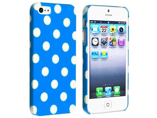 Insten Sky Blue with White Polka Dot Clip-on Case Cover + Anti-Glare Screen Protector Compatible With Apple iPhone 5 / 5s 865657