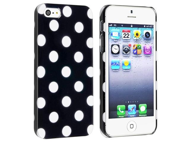 Insten Black w/ White Dot Rear Snap-on Case Cover + Colorful Diamond LCD Cover compatible with Apple iPhone 5
