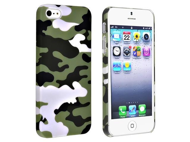 Insten Glaucum Camouflage Snap-on Rubber Coated Case Cover + Privacy Screen Cover compatible with Apple iPhone 5
