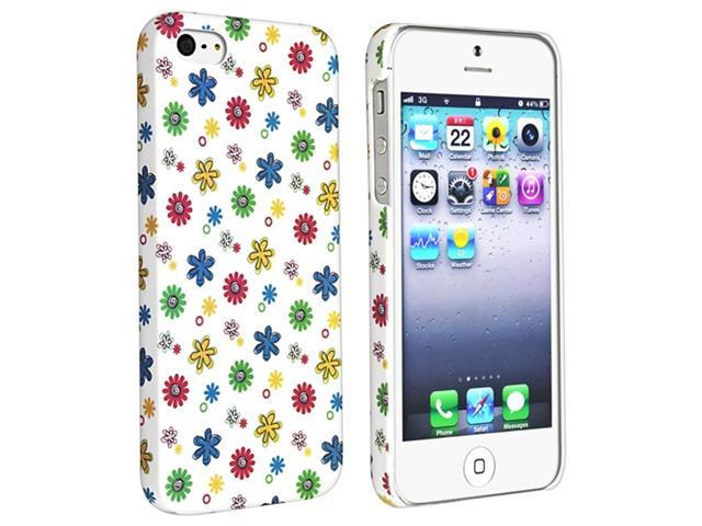 Insten White Colorful Mini Flower Rubber Coated Case Cover + Colorful Diamond Screen Protector compatible with Apple  iPhone  5