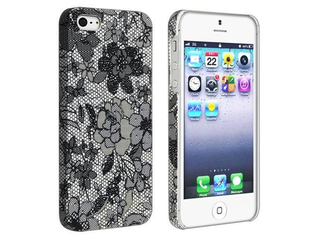 Insten Black Flower Rear Style 49 Rubber Coated Case Cover + Front & Back LCD Cover Compatible With Apple iPhone 5 / 5s 898026