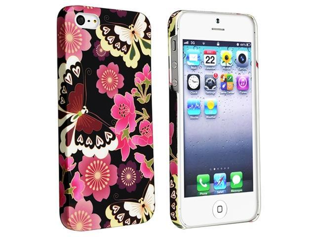 Insten Red Flower Butterfly Rear Style 51 Rubber Coated Case Cover + Anti-Glare LCD Cover compatible with Apple  iPhone  5