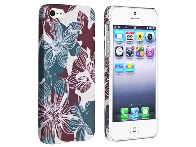 Insten Blue Red Flower Rear Style 30 Rubber Coated Case Cover + 2 LCD Kit Mirror Screen Protector compatible with Apple  iPhone  5