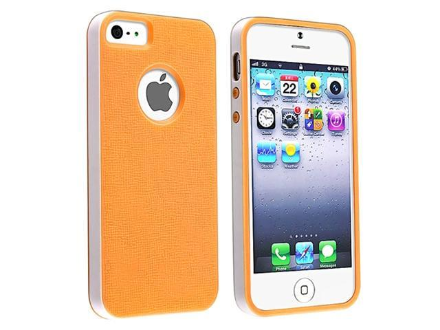 Insten Orange/ White Bumper TPU Rubber Case Cover + Anti-Glare LCD Cover compatible with Apple iPhone 5