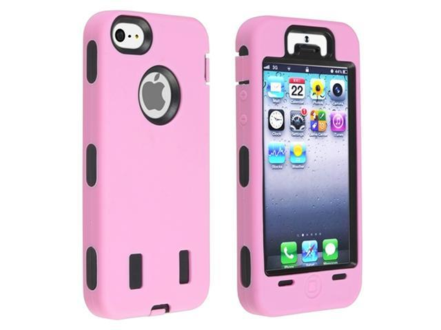 Insten Black Hard/ Light Pink Skin Hybrid Case Cover + 2 LCD Kit Reusable Screen Protector compatible with Apple iPhone 5