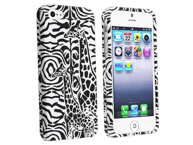 Insten Black Giraffe Snap-on Case Cover + Privacy Screen Cover compatible with Apple iPhone 5