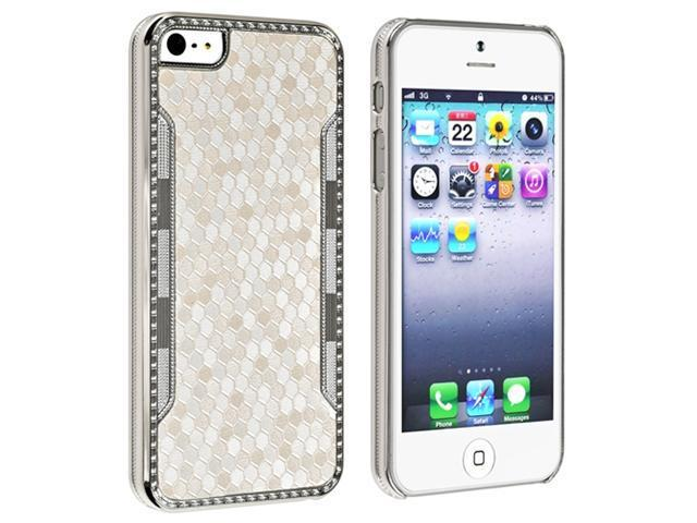 Insten Luxury Diamond White Snake Skin Leather Hard Case Cover + Privacy Screen Cover compatible with Apple iPhone 5