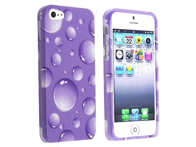 Insten Purple Bubbles Snap-on Case Cover + Anti-Glare LCD Cover compatible with Apple iPhone 5