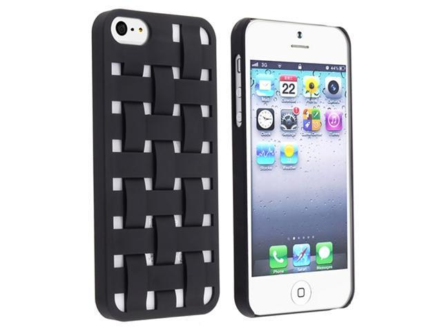 Insten Black Criss Cross Rear Hard Rubber Case + In-Ear (w/On-Off) Stereo Headsets Compatible with Apple iPhone 5