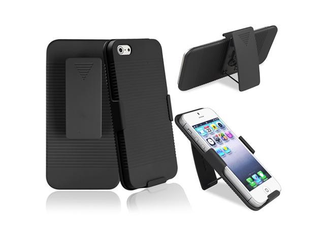 Insten Swivel Holster with Stand compatible with Apple iPhone 5 / 5S, Black