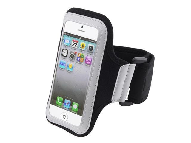Insten White / Black Running Sport Armband Case Cover + Stereo Headset Compatible With Apple iPhone 5 / 5s / 5c 836430