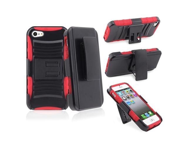 Insten Red Silicone/ Black Hard Hybrid Armor Holster Case Cover + Anti-Glare LCD Screen Protector Compatible with Apple iPhone 5