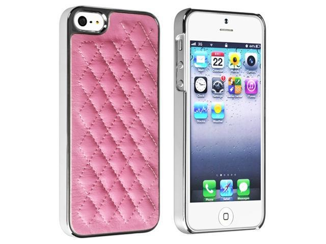 Insten Pink Leather with Silver Side Snap-on Hard Case Cover + 2 LCD Kit Mirror Film Guard Compatible with Apple iPhone 5