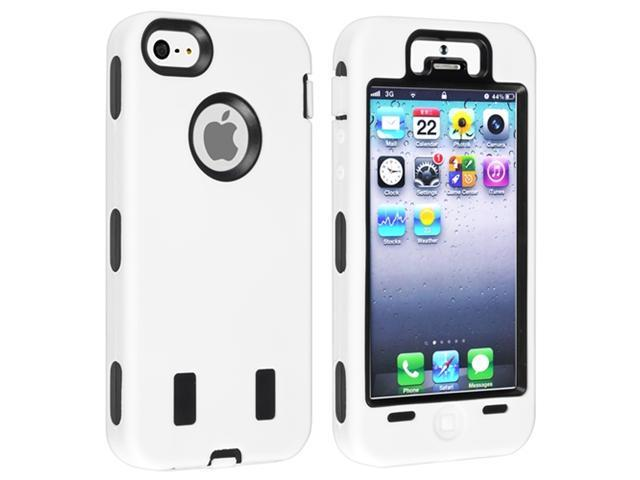 Insten Black Hard/ White Silicone Hybrid Case Cover + Clear Screen Protector Compatible with Apple iPhone 5
