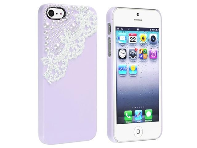 Insten Purple with Lace And Pearl Snap-on Hard Case Cover with [2-LCD Kit] Front & Back Reusable Screen Protector Compatible with Apple iPhone 5