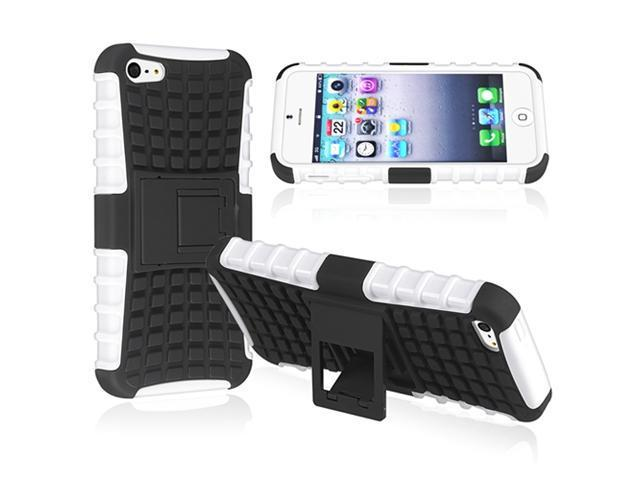 Insten White TPU/ Black Hard Hybrid Case Cover w/ Stand + Stereo Headset Compatible with Apple iPhone 5