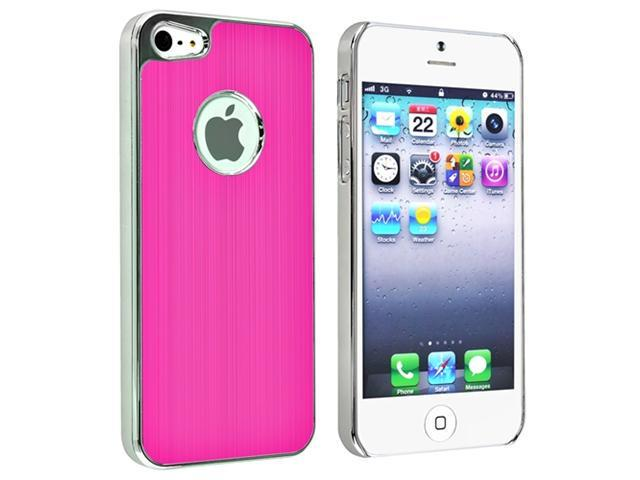 Insten Snap-on Hard Case Cover Compatible With Apple iPhone 5  - Hot Pink Brushed Chrome Aluminum Rear