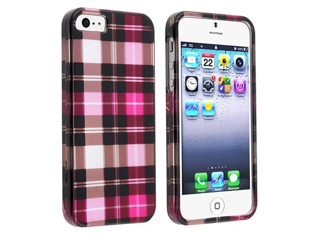 Insten Hot Pink Checker Clip-on Case Cover + Clear Screen Cover Compatible With Apple iPhone 5 / 5s 818571