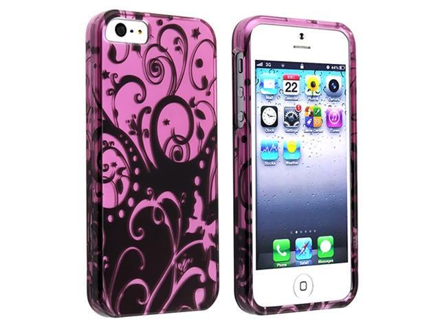 Insten Purple / Black Swirl Flower Clip-on Case Cover + Anti-Glare Screen Cover Compatible With Apple iPhone 5 / 5s 818581