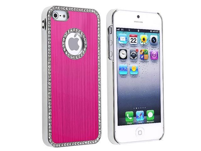 Insten Hot Pink Bling Luxury Clip-on Case Cover + Mirror Screen Cover Compatible With Apple iPhone 5 / 5s 818596