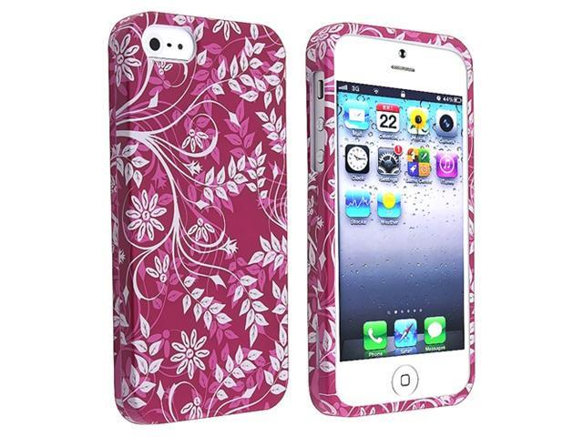 Insten Purple Flower Leaf Clip-on Case Cover + Clear Screen Cover Compatible With Apple iPhone 5 / 5s 818675