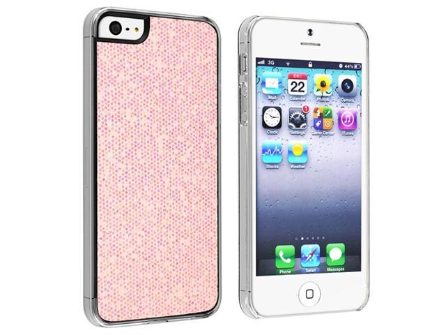 Insten Light Pink Bling Rear Clip-on Case Cover + Anti-Glare Screen Cover Compatible With Apple iPhone 5 / 5s 818701