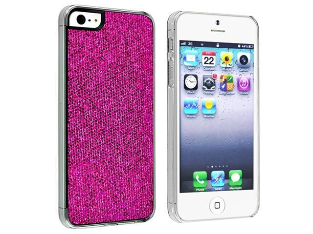 Insten Hot Pink Bling Rear Clip-on Case Cover + Reusable Clear Screen Cover Compatible With Apple iPhone 5